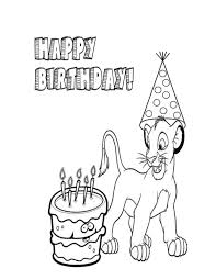 Lion King And Birthday Hat Coloring Page