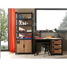 bureau metal et bois bureau style industriel en metal et bois ado massif 3