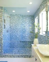 vintage blue tile bathroom ideas come with glass window with white