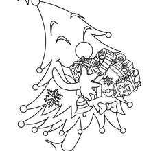 Christmas Tree All Adorned Happy Xmas Coloring Page