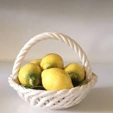 Mid Century Modern Capodimonte Lemons Basket Porcelain Fruit Collectible Summer Kitchen Decor 1950s
