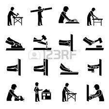 Carpenter Icons Black Set With Woodwork And Lumber Tools Isolated Vector Illustration
