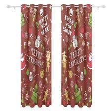 Amazoncom JSTEL Beach And Santa Christmas Curtains Drapes Panels