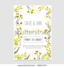 Vector Watercolor Save The Date Card In Rustic Style With Green Leaves On Craft Paper