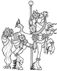 Horses Coloring Pages Beautifully Decorated Carousel Horse Realistic Jumping