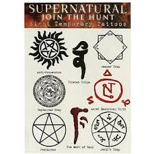 One Sheet Of Supernatural Themed Temporary Tattoos