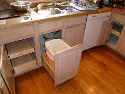Kitchen Utensils Amazing Fiber Plastic Built In Trash Can Cabinet Pale Brown Cabinets