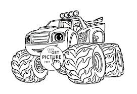 Monster Truck With Flames Coloring Pages Together 598