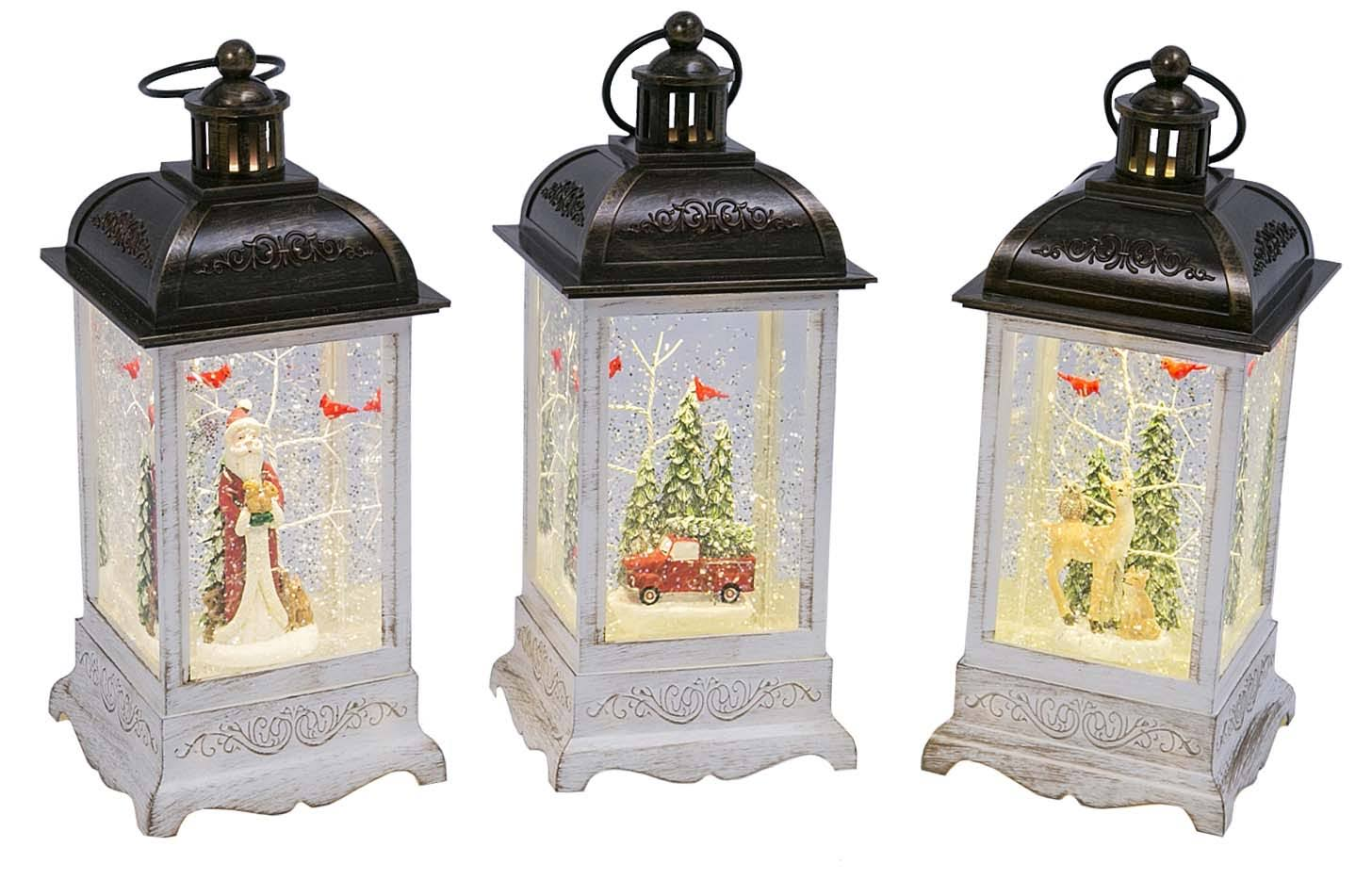 10.5 inch Old World Santa White Lighted Water Lantern with Swirling Glitter - 2497550-SANTA by Gerson