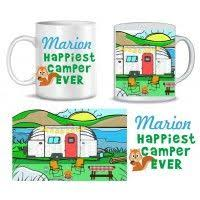 Personalized Travel Trailer Mug Shows A Camping Scene And Says Happiest Camper Ever It Is