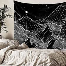 alumuk gebirgs tapisserie schwarz und weiß linien kunst wandbehang wandteppich mandala bohemian wandtuch für wohnzimmer schlafzimmer wohnkultur