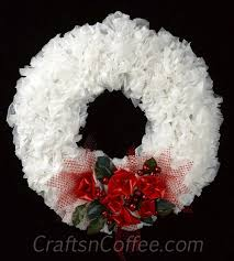 Recycled White Plastic Bag Wreath