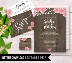 Rustic Wedding Invitation Template Instant Download Wood Floral String Light DIY Printable Invite Set Editable PDF Digital 019