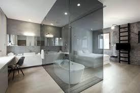 schlafzimmer bad einrichtungsideen sichtbeton wanne glasbox