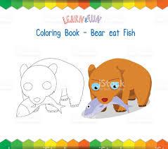 Bear Eat Fish Coloring Book Educational Game Royalty Free Stock Vector Art