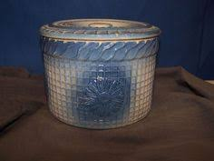 Antique Stoneware Butter Crock Blue & White Cherries with Lid and