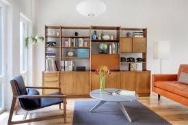 dining room coffee table with mid century sofa and pendant