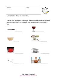 vocabulaire de la cuisine exercice corrigé pour le ce2 les objets dans la cuisine