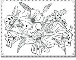 Flower Lilies Floral Coloring Page For Adults PDF JPG Instant Download