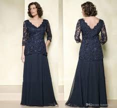 vintage plus size navy blue mothers dresses with 3 4 long sleeves