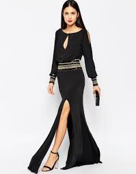 forever unique mel maxi dress with long sleeves in black lyst