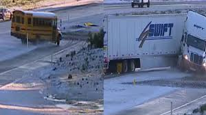 100 Truck Stop San Diego VIDEO School Bus Spin Out On Icy Interstate 8