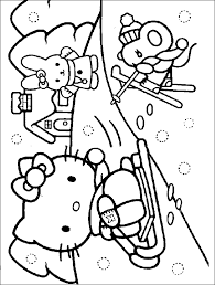 HELLO KITTY WINTERY SNOW SCENE TO PRINT AND COLOR