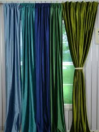 Bed Bath And Beyond Grommet Blackout Curtains by 63 Inch 96 Inch Whitney Green And Blue Solid Blackout Grommet