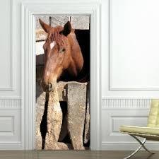 sticker porte cuisine sticker cheval trompe l oeil pour porte amazon fr cuisine maison