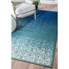 Turquoise Area Rug 5x7 Carpet Blue Teal Geometric White Accent
