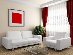 Simple Modern Curtains Living Room Design In Red And White Theme Color