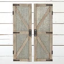 Corrugated Metal Wood Framed Barn Door Panel Wall Decor Set of 2