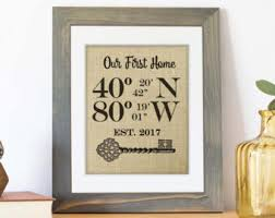 House Warming Gift New Home Housewarming Burlap Print Address Sign GPS Coordinates Our First