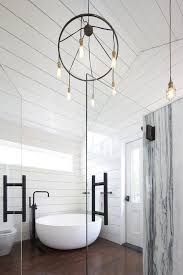 Chandelier Over Bathtub Soaking Tub by Shower With Vaulted Ceiling Design Ideas
