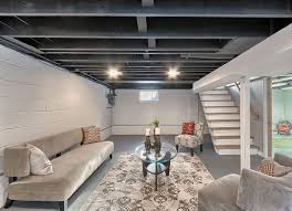 Using A Paint Sprayer For Ceilings by 12 Finishing Touches For Your Unfinished Basement Concrete Floor