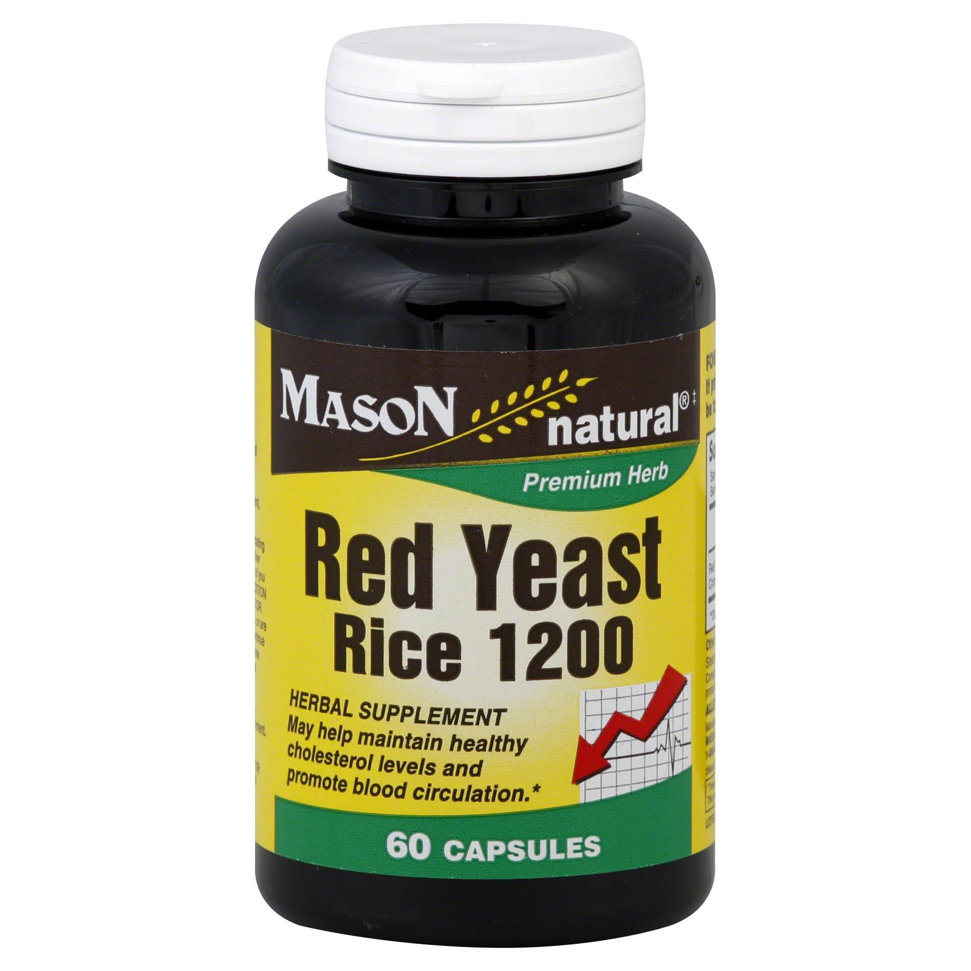 Mason Natural Premium Herb Red Yeast Rice Herbal Supplement - 1200mg, 60 Capsules