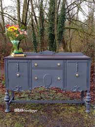 Vintage Buffet In General Finishes Milk Paint Queenstown Gray With Java Gel Stained Top