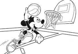 Mickey Mouse Playing Basketball Coloring Page Download