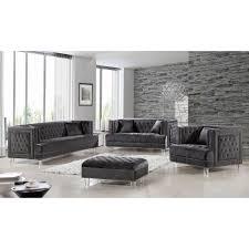 meridian furniture 609grey s lucas grey tufted velvet sofa w