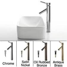 Kraus Vessel Sinks Combo by Kraus Soft Rectangular Ceramic Vessel Sink In White With Ramus