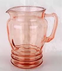 Anchor Hocking Pink Depression Glass Mayfair Open Rose Pitcher 6 Tall Mid Century Modern KitchenPink