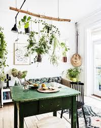 ambiance bohème avec des plantes suspendues dans le séjour