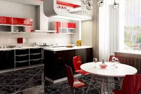 Red And White Themed Kitchen Cabinets