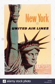 Vintage Travel Poster Advertising United Air Lines New York City Statue Of Liberty US TravelEditorial Only