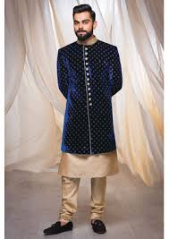 Traditional Blue Indo Western Attire With The Touch Of Zardozi Work