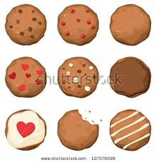 Set of few different tasty cookies with black and white chocolate red berries and with