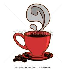 Color Small Coffee Cup With Steam And Saucer