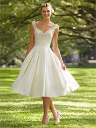A Line Off The Shoulder Beaded Pleated Knee Length Satin Wedding Dress WD1629