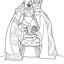 The Three Wise Men And Baby Jesus Coloring Page