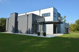 100 Contemporary House Siding Modern Flat Roof Home With Corrugated Metal Siding Gray Random Lap